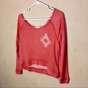 Heart Hips Coral Cropped Long sleeve Top, Sz L